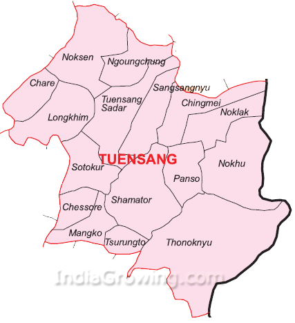 Tuensang District Subdivisions Map