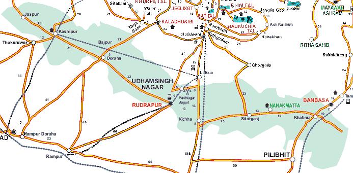 Udham Singh Nagar District Tehsils Map