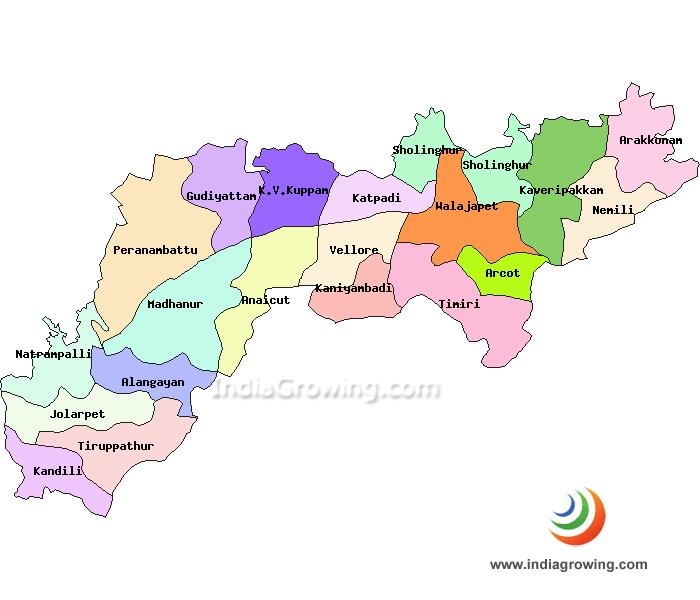 Vellore District Taluks Map