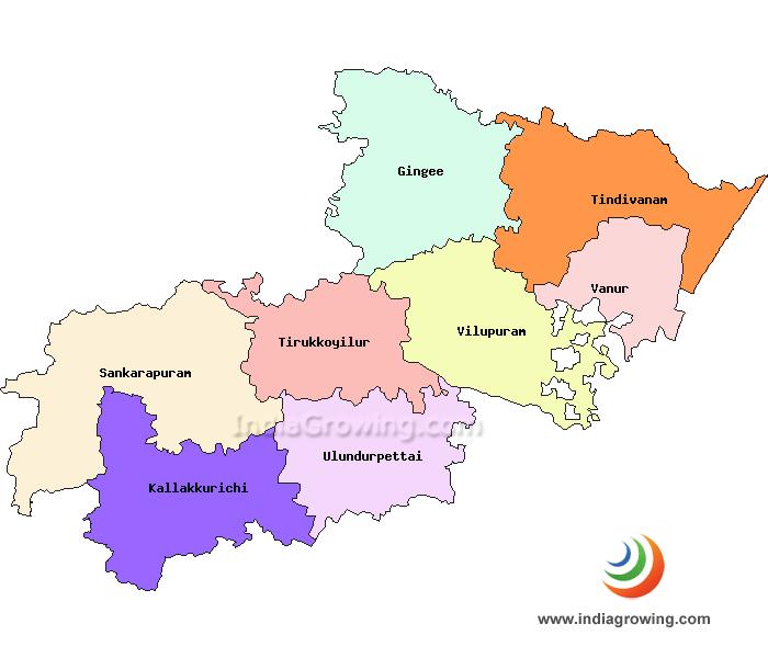 Viluppuram District Taluks Map