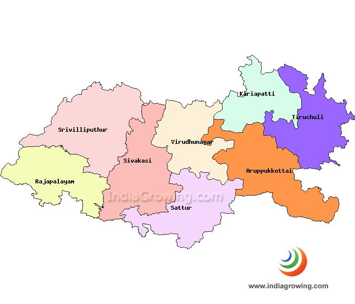 Virudhunagar District Taluks Map