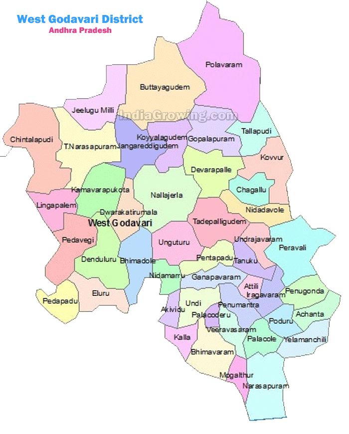 West Godavari District Mandals Map