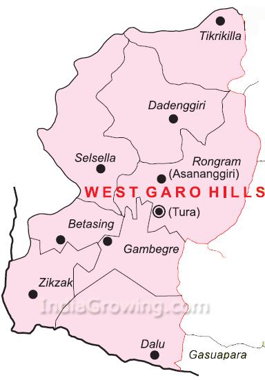 West Garo Hills District Blocks Map