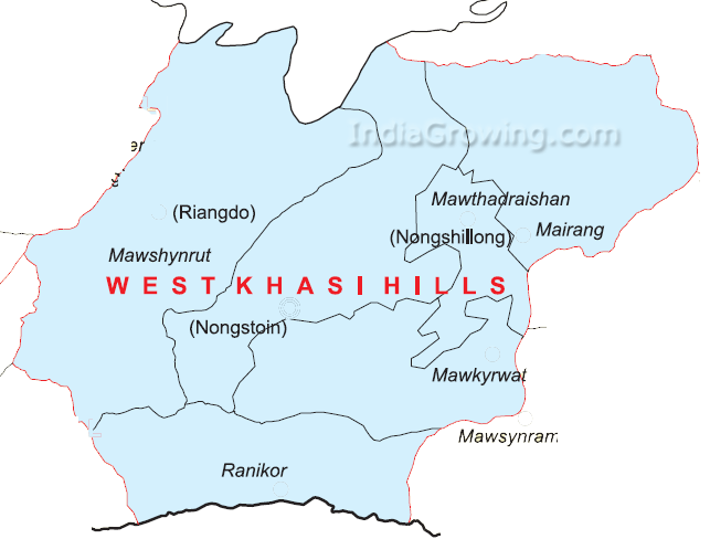 West Khasi Hills District Map