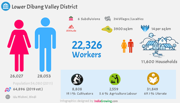 Lower Dibang Valley district population 2019, households, workers, literate, area, census and language in Arunachal Pradesh