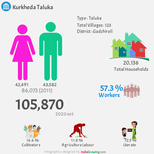 Kurkheda Demographics, Gadchiroli district
