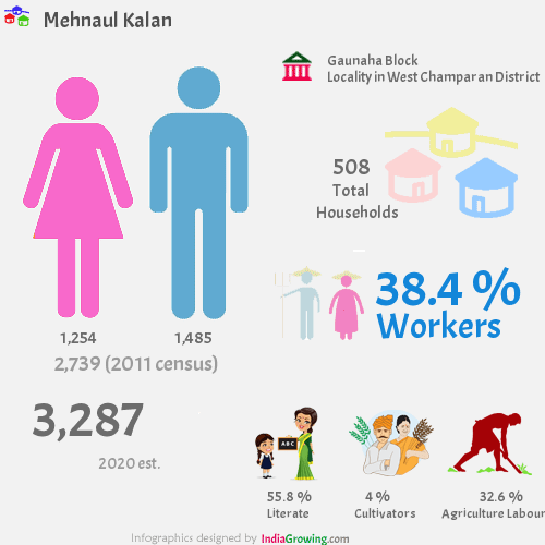 Mehnaul Kalan population 2019, households, workers, literate and census in Gaunaha Block, West Champaran district
