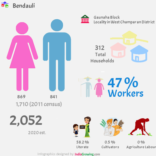 Bendauli population 2019, households, workers, literate and census in Gaunaha Block, West Champaran district