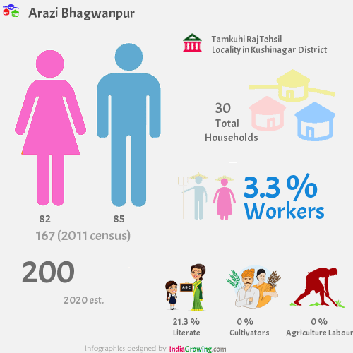 Arazi Bhagwanpur population 2019, households, workers, literate and census in Tamkuhi Raj Tehsil, Kushinagar district