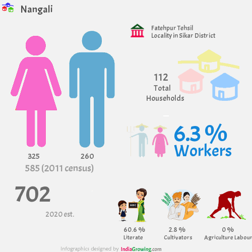 Nangali population 2019, households, workers, literate and census in Fatehpur Tehsil, Sikar district