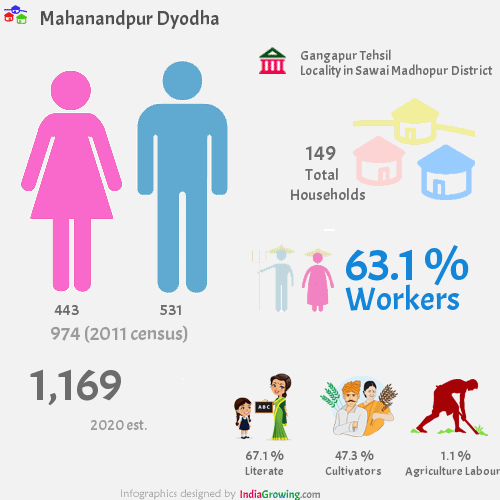 Mahanandpur Dyodha population 2019, households, workers, literate and census in Gangapur Tehsil, Sawai Madhopur district