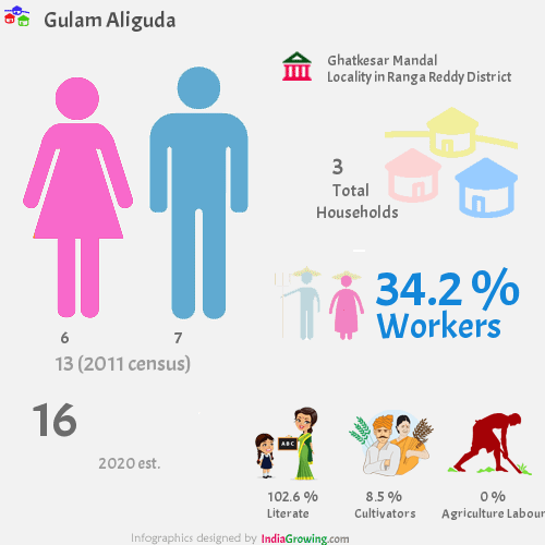 Gulam Aliguda population 2019, households, workers, literate and census in Ghatkesar Mandal, Ranga Reddy district