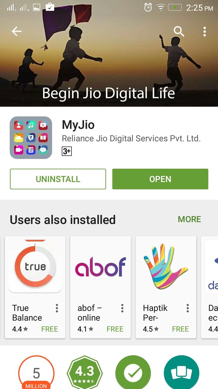 myjio app installed, open now